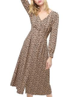 J.Crew Leopard Print Buffon Front A-Line Midi Dress