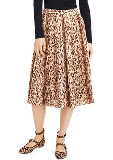 J.Crew Leopard Print Pleated Midi Skirt