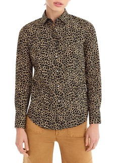 J.Crew Leopard Print Slim Stretch Perfect Shirt (Regular & Petite)