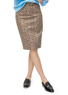 J.Crew Leopard Stretch Cotton No. 2 Pencil Skirt