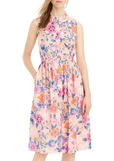 J.Crew Liberty Pavilion Floral Print Ruffle Neck Midi Dress