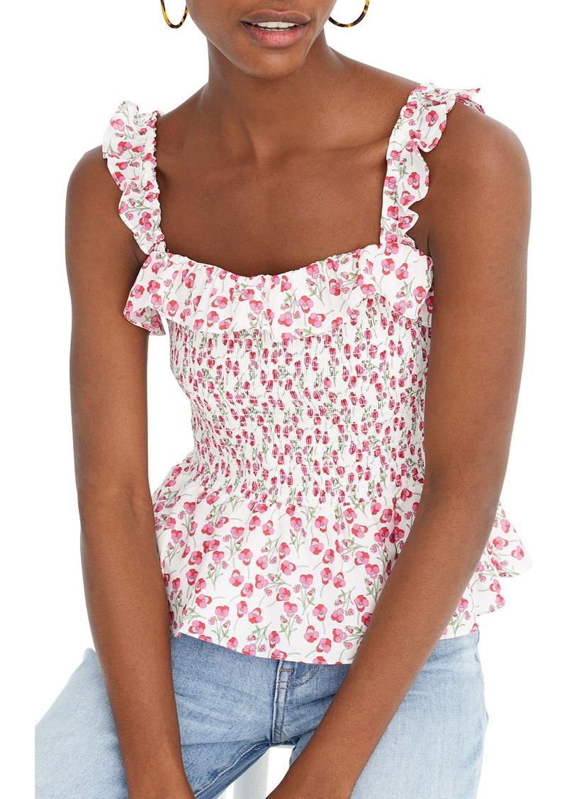 J.Crew Liberty® Rose Floral Smocked Ruffle Top