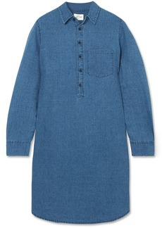 Linen and cotton-blend chambray mini shirt dress