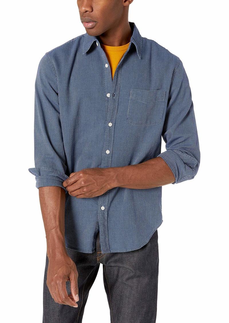 J.Crew Mercantile Men's Classic-Fit Long-Sleeve Indigo Fine Stripe Shirt Leaf M