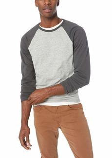 J.Crew Mercantile Men's Long-Sleeve Baseball T-Shirt Heather tin Black L