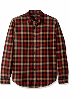 J.Crew Mercantile Men's Long-Sleeve Heathered Gingham Shirt Beige/red Navy L
