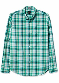 J.Crew Mercantile Men's Long Sleeve Washed Plaid Shirt Green Olive White ESQUEL S L