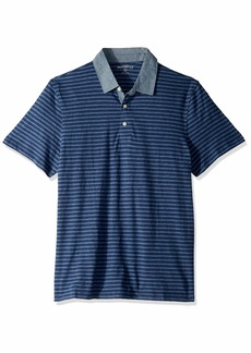 J.Crew Mercantile Men's Short-Sleeve Striped Polo Shirt with Chambray Collar Ivan Navy Brooks S