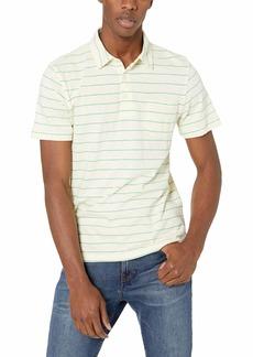 J.Crew Mercantile Men's Short-Sleeve Striped Slub Cotton Polo Shirt Tudor Muslin Green S