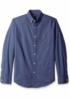 J.Crew Mercantile Men's Slim-Fit Long-Sleeve Marled Cotton Shirt deep Baltic S