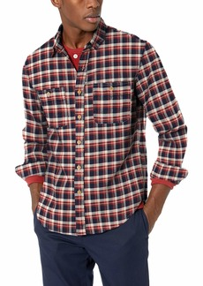 J.Crew Mercantile Men's Slim-Fit Long-Sleeve Plaid Flannel Shirt Navy Cream M