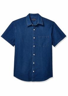 J.Crew Mercantile Men's Slim-Fit Short Sleeve Indigo Ripstop Shirt  XL