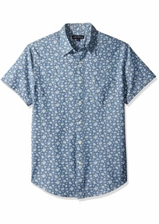 J.Crew Mercantile Men's Slim-Fit Short Sleeve Printed Chambray Shirt  XS