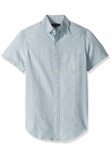 J.Crew Mercantile Men's Slim-Fit Short-Sleeve Printed Chambray Shirt Triangles Navy White M