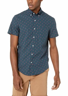 J.Crew Mercantile Men's Slim-Fit Short-Sleeve Stretch Printed Shirt Lightning Midnight red XS