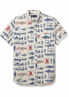 J.Crew Mercantile Men's Slim-Fit Short-Sleeve Stretch Printed Shirt  S