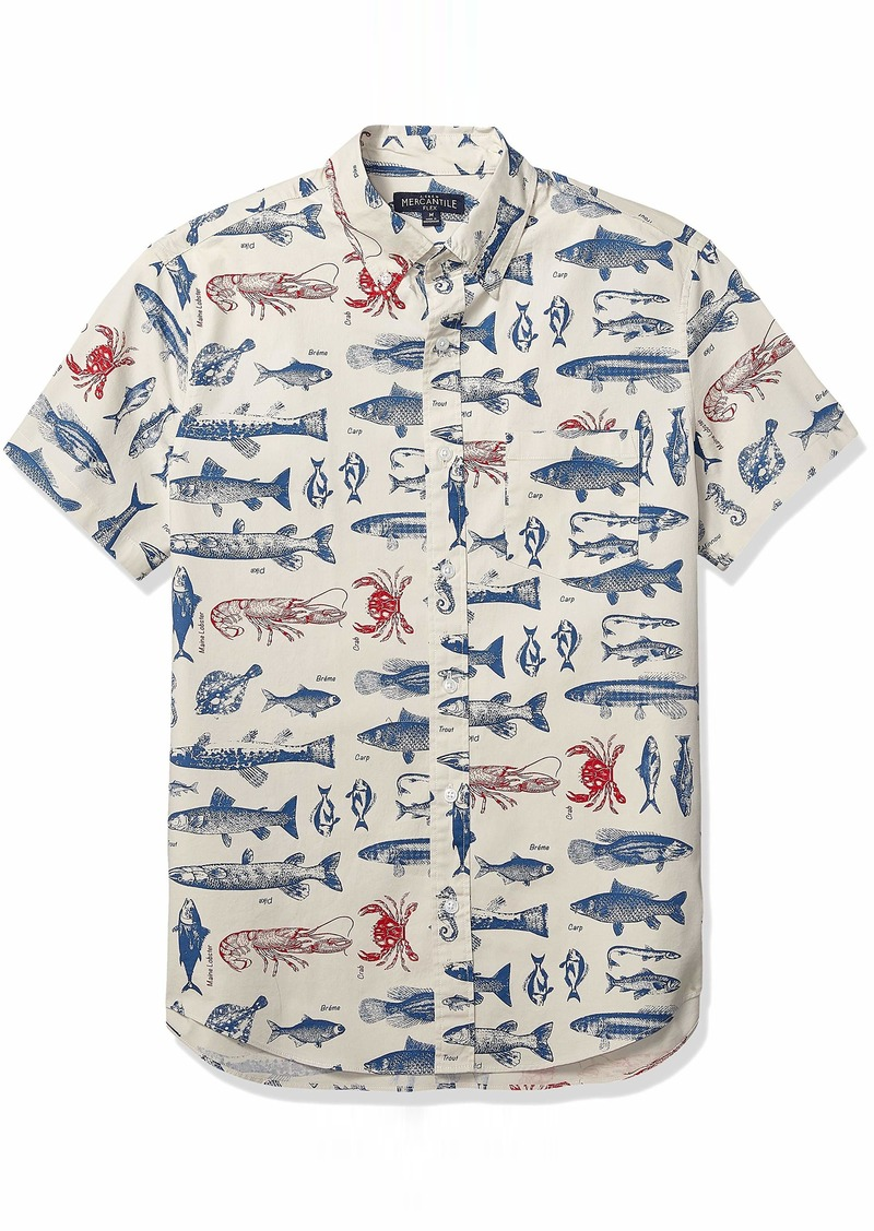 J.Crew Mercantile Men's Slim-Fit Short-Sleeve Stretch Printed Shirt  S