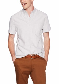 J.Crew Mercantile Men's Slim-Fit Short-Sleeve Stripe Oxford Shirt Vintage Merlot XL