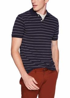 J.Crew Mercantile Men's Striped Pique Polo Shirt Navy White L