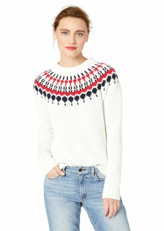 J.Crew Mercantile Women's Fair Isle Crewneck Sweater Ivory/red Navy XS