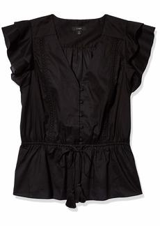 J.Crew Mercantile Women's Flutter Sleeve V-Neck Top  XL