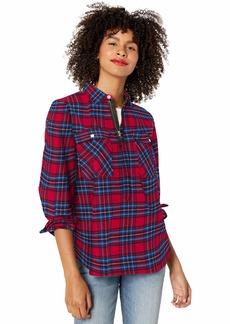 J.Crew Mercantile Women's Half Zip Pullover Shirt Jacket red/Blue Plaid XXS