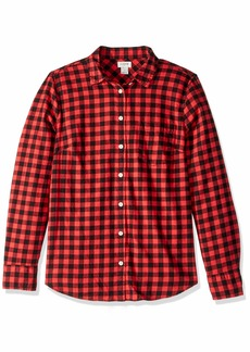 J.Crew Mercantile Women's Long-Sleeve Flannel Shirt red/Black Check M