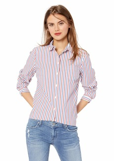 J.Crew Mercantile Women's Long-Sleeve Striped Shirt red/Blue Verticle L
