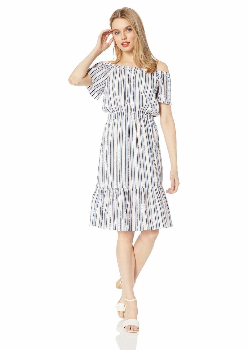J.Crew Mercantile Women's Off-The-Shoulder Striped Peasant Dress San Ivory Med I Coast M