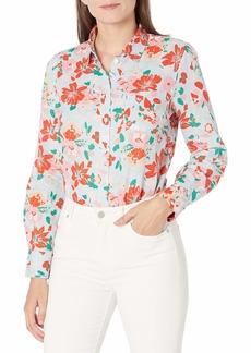 J.Crew Mercantile Women's Perfect Linen Shirt in Print Citron Floral Lemon AQUQ S
