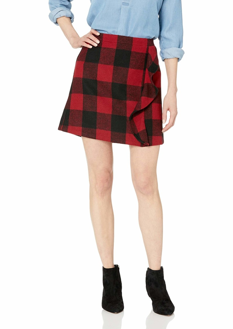 J.Crew Mercantile Women's Plaid Ruffle Wool Mini Skirt red/Black Buffalo