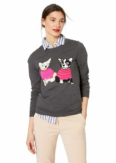 J.Crew Mercantile Women's Plus Size Crewneck French Bulldog Sweater Navy Flamingo red