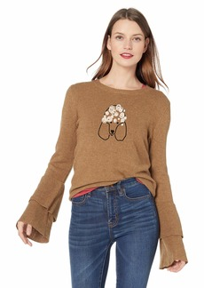 J.Crew Mercantile Women's Plus Size Dog Embroidered Bell Sleeve Sweater