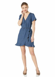 J.Crew Mercantile Women's Short-Sleeve Chambray Ruffle Wrap Dress  XL