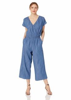 J.Crew Mercantile Women's Short-Sleeve Chambray Wrap Jumpsuit  L