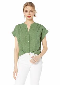 J.Crew Mercantile Women's Short Sleeve Eyelet Camp Shirt