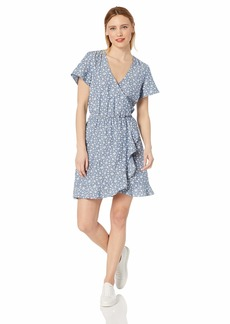 J.Crew Mercantile Women's Short-Sleeve Floral Chambray Ruffle Wrap Dress  L