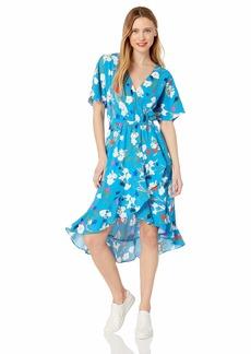 J.Crew Mercantile Women's Short-Sleeve Floral Ruffle Wrap Midi Dress  L