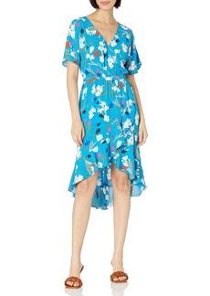 J.Crew Mercantile Women's Short-Sleeve Floral Ruffle Wrap Midi Dress  M