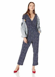 J.Crew Mercantile Women's Short-Sleeve Printed Wrap Jumpsuit Splatter dot Navy Salt XXS