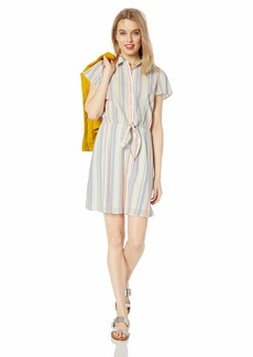 J.Crew Mercantile Women's Short Sleeve Seersucker Collared Tie Front Dress