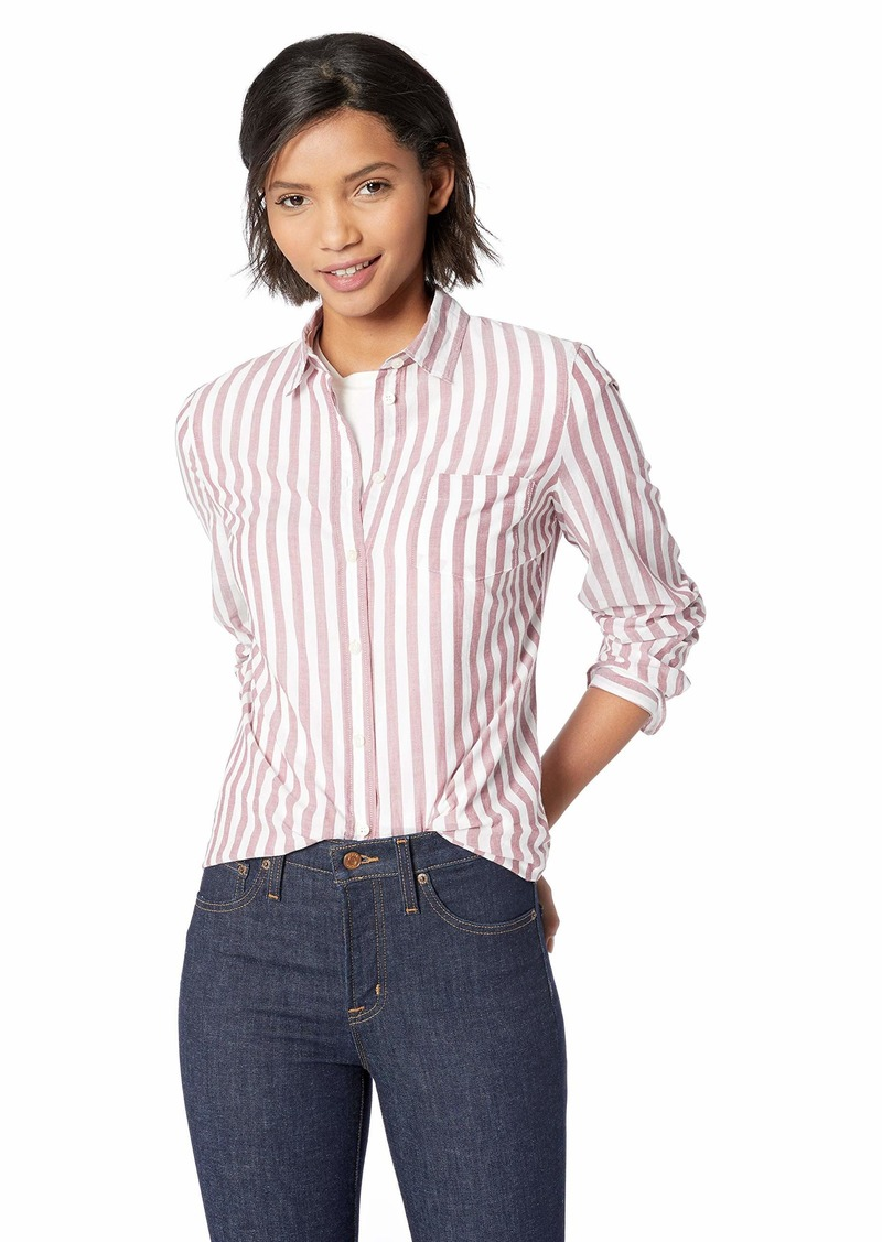 J.Crew Mercantile Women's Striped Button Down Shirt Burgundy Verticle XS