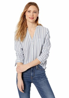 J.Crew Mercantile Women's Tie Sleeve Striped Collarless Button Down Shirt  S