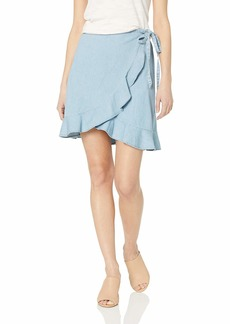 J.Crew Mercantile Women's Tie Waist Chambray Ruffle Wrap Mini Skirt  XXS