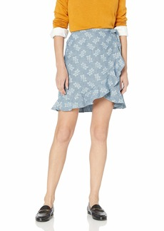 J.Crew Mercantile Women's Tie Waist Floral Chambray Ruffle Wrap Mini Skirt  L