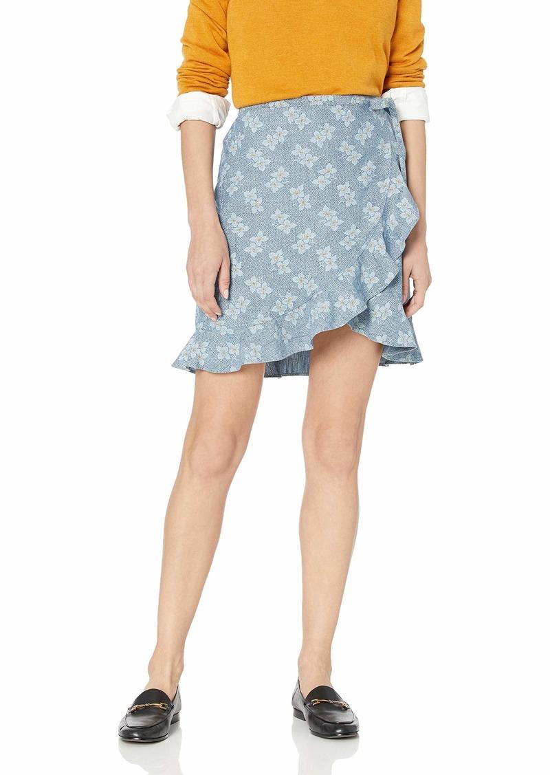 J.Crew Mercantile Women's Tie Waist Floral Chambray Ruffle Wrap Mini Skirt  L
