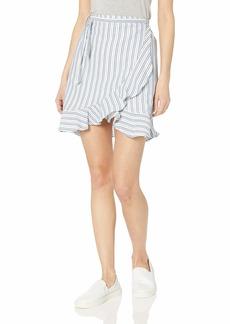 J.Crew Mercantile Women's Tie Waist Striped Ruffle Wrap Mini Skirt  M