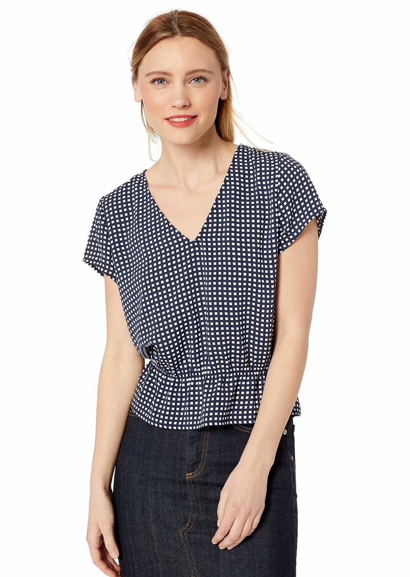 J.Crew Women's V-Neck Printed Peplum Top  XL