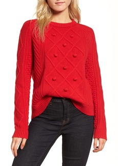 J.Crew Merino Wool Cable Pompom Sweater