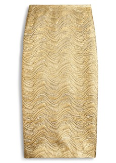 J.Crew Metallic Leaf Jacquard Pencil Skirt